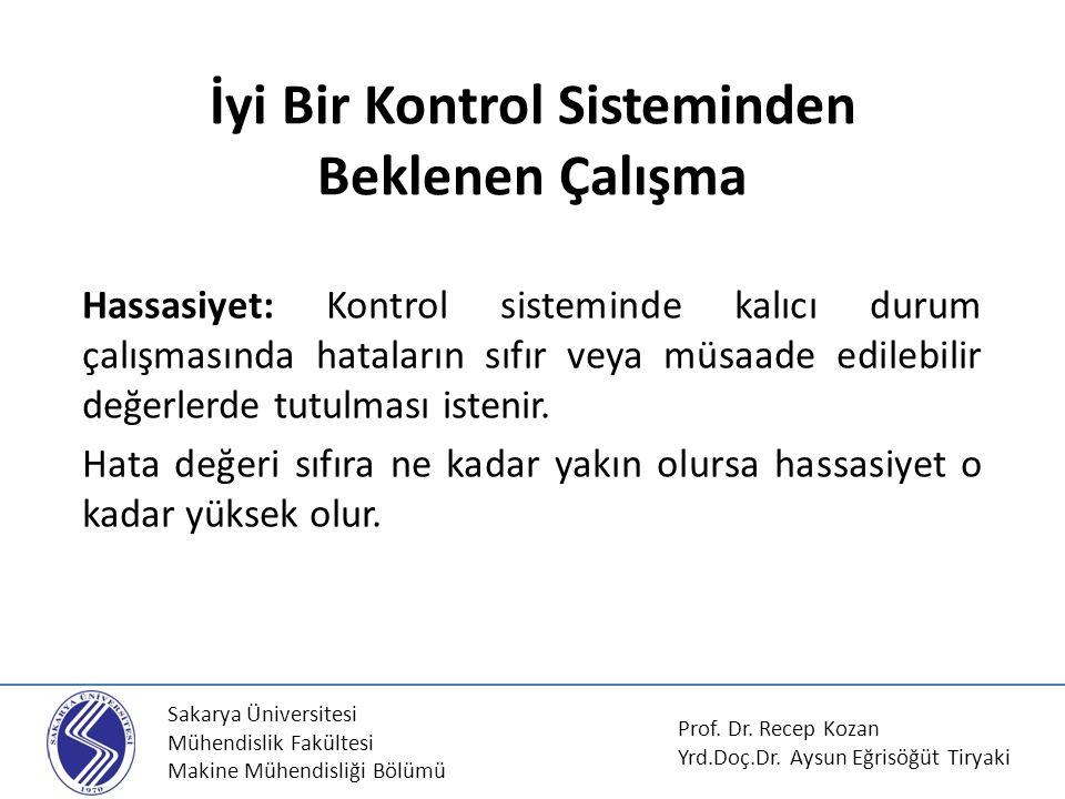 Sakarya Üniversitesi Mühendislik Fakültesi Makine Mühendisliği Bölümü İyi Bir Kontrol Sisteminden Beklenen Çalışma Hassasiyet: Kontrol sisteminde kalı