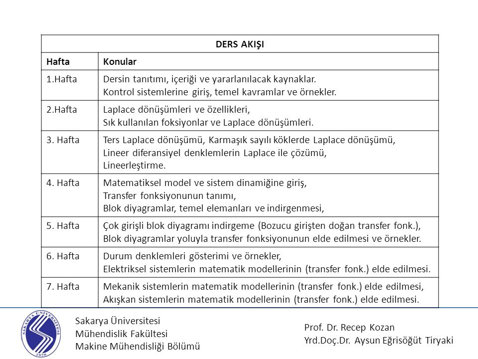 Sakarya Üniversitesi Mühendislik Fakültesi Makine Mühendisliği Bölümü DERS AKIŞI HaftaKonular 1.HaftaDersin tanıtımı, içeriği ve yararlanılacak kaynak