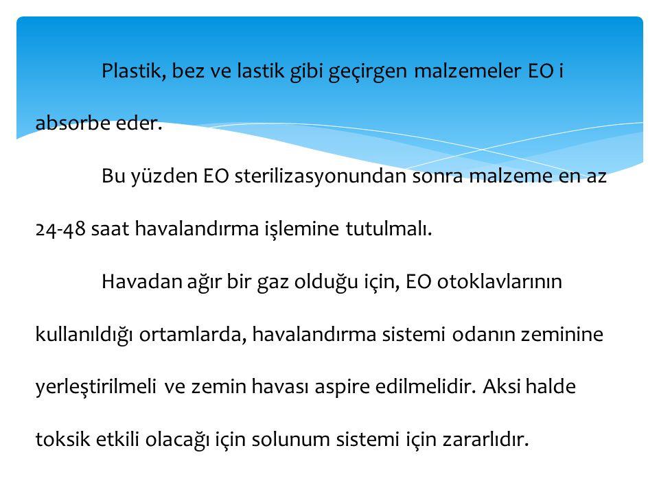 Plastik, bez ve lastik gibi geçirgen malzemeler EO i absorbe eder. Bu yüzden EO sterilizasyonundan sonra malzeme en az 24-48 saat havalandırma işlemin