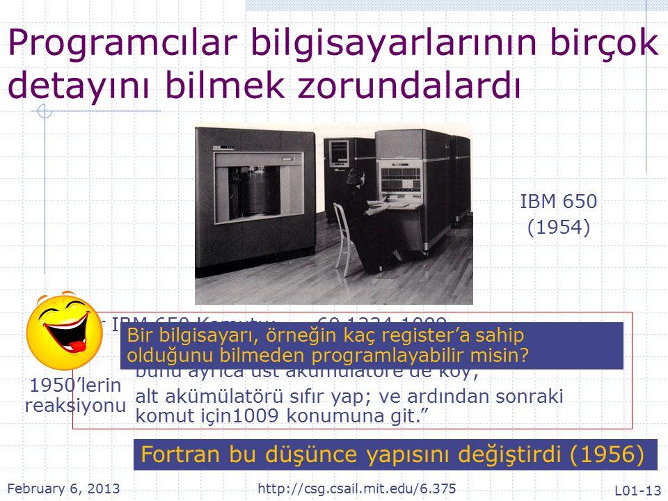 Programcılar bilgisayarlarının birçok detayını bilmek zorundalardı Bir IBM 650 Komutu: 60 1234 1009 Dağıtım içine 1234 konumunun içeriğini yükle; bunu ayrıca üst akümülatöre de koy; alt akümülatörü sıfır yap; ve ardından sonraki komut için1009 konumuna git. Bir bilgisayarı, örneğin kaç register'a sahip olduğunu bilmeden programlayabilir misin.