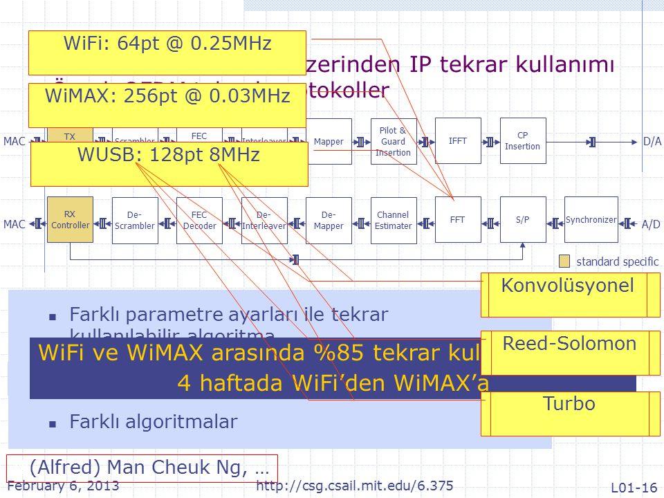 Parametreli modüller üzerinden IP tekrar kullanımı Örnek OFDM tabanlı protokoller MAC standard specific potential reuse Scrambler FEC Encoder InterleaverMapper Pilot & Guard Insertion IFFT CP Insertion De- Scrambler FEC Decoder De- Interleaver De- Mapper Channel Estimater FFTSynchronizer TX Controller RX Controller S/P D/A A/D Farklı algoritmalar Farklı verimlilik gereksinimleri Farklı parametre ayarları ile tekrar kullanılabilir algoritma WiFi: 64pt @ 0.25MHz WiMAX: 256pt @ 0.03MHz WUSB: 128pt 8MHz WiFi ve WiMAX arasında %85 tekrar kullanılabilir kod 4 haftada WiFi'den WiMAX'a  (Alfred) Man Cheuk Ng, … WiFi: x 7 +x 4 +1 WiMAX: x 15 +x 14 +1 WUSB: x 15 +x 14 +1 Konvolüsyonel Reed-Solomon Turbo February 6, 2013http://csg.csail.mit.edu/6.375 L01-16