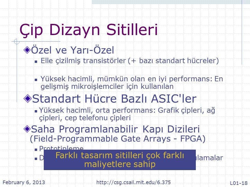 Çip Dizayn Sitilleri Özel ve Yarı-Özel Elle çizilmiş transistörler (+ bazı standart hücreler) Yüksek hacimli, mümkün olan en iyi performans: En gelişmiş mikroişlemciler için kullanılan Standart Hücre Bazlı ASIC ler Yüksek hacimli, orta performans: Grafik çipleri, ağ çipleri, cep telefonu çipleri Saha Programlanabilir Kapı Dizileri (Field-Programmable Gate Arrays - FPGA) Prototipleme Düşük hacimli, düşük-orta performanslı uygulamalar Farklı tasarım sitilleri çok farklı maliyetlere sahip February 6, 2013http://csg.csail.mit.edu/6.375 L01-18