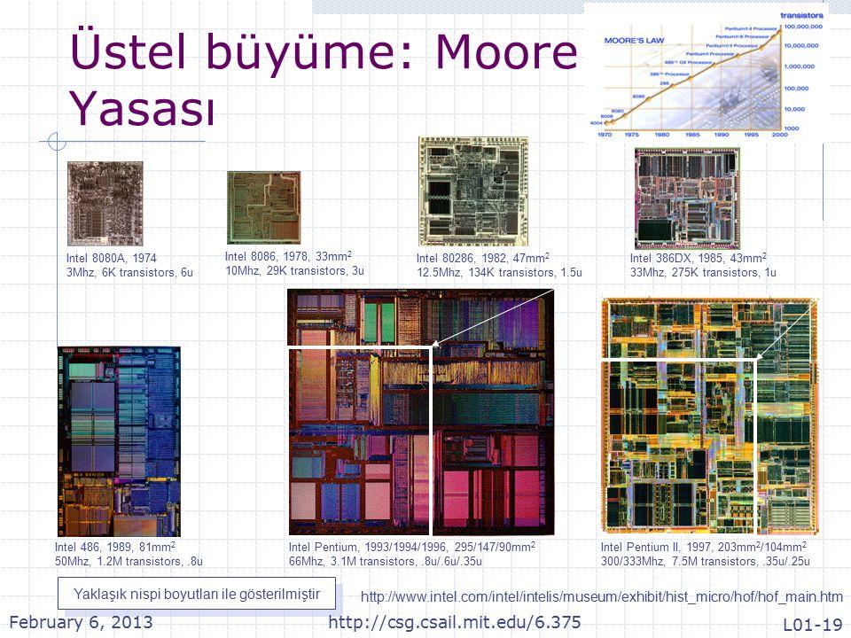 Üstel büyüme: Moore Yasası Intel 8080A, 1974 3Mhz, 6K transistors, 6u Intel 8086, 1978, 33mm 2 10Mhz, 29K transistors, 3u Intel 80286, 1982, 47mm 2 12.5Mhz, 134K transistors, 1.5u Intel 386DX, 1985, 43mm 2 33Mhz, 275K transistors, 1u Intel 486, 1989, 81mm 2 50Mhz, 1.2M transistors,.8u Intel Pentium, 1993/1994/1996, 295/147/90mm 2 66Mhz, 3.1M transistors,.8u/.6u/.35u Intel Pentium II, 1997, 203mm 2 /104mm 2 300/333Mhz, 7.5M transistors,.35u/.25u http://www.intel.com/intel/intelis/museum/exhibit/hist_micro/hof/hof_main.htm Yaklaşık nispi boyutları ile gösterilmiştir February 6, 2013http://csg.csail.mit.edu/6.375 L01-19