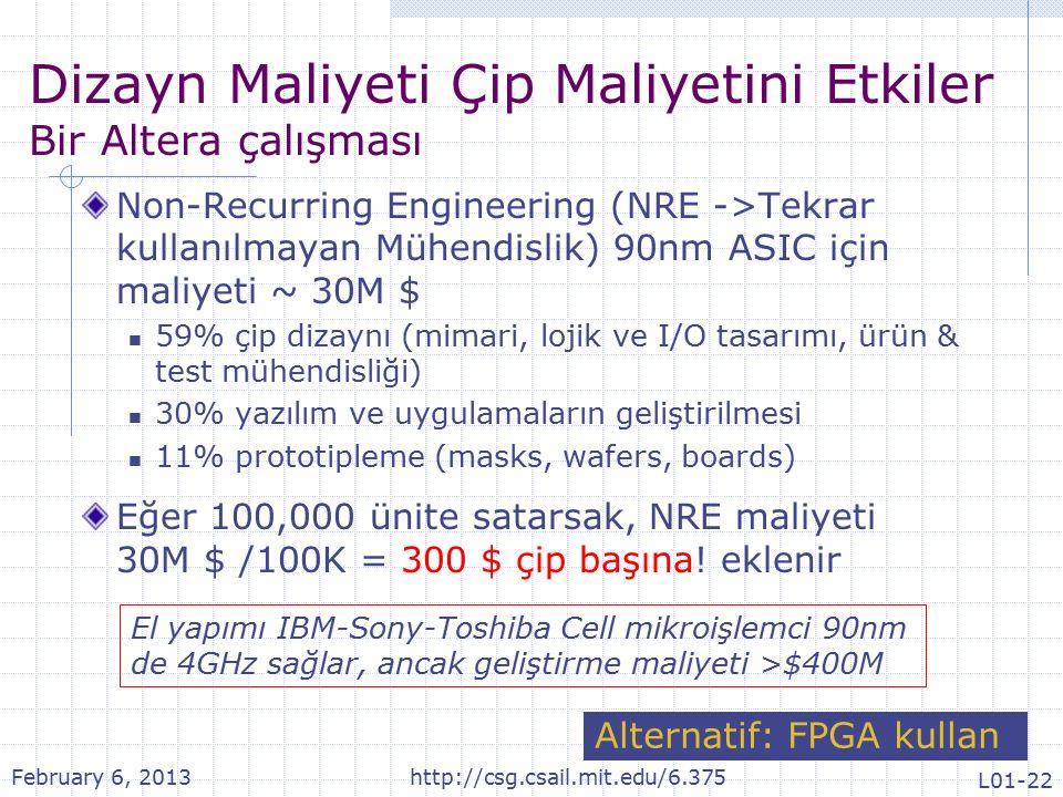 Dizayn Maliyeti Çip Maliyetini Etkiler Bir Altera çalışması Non-Recurring Engineering (NRE ->Tekrar kullanılmayan Mühendislik) 90nm ASIC için maliyeti ~ 30M $ 59% çip dizaynı (mimari, lojik ve I/O tasarımı, ürün & test mühendisliği) 30% yazılım ve uygulamaların geliştirilmesi 11% prototipleme (masks, wafers, boards) Eğer 100,000 ünite satarsak, NRE maliyeti 30M $ /100K = 300 $ çip başına.