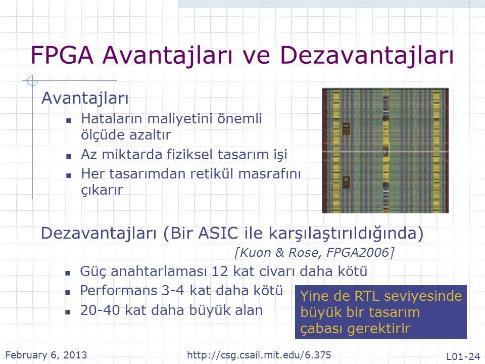 FPGA Avantajları ve Dezavantajları Avantajları Hataların maliyetini önemli ölçüde azaltır Az miktarda fiziksel tasarım işi Her tasarımdan retikül masrafını çıkarır Dezavantajları (Bir ASIC ile karşılaştırıldığında) [Kuon & Rose, FPGA2006] Güç anahtarlaması 12 kat civarı daha kötü Performans 3-4 kat daha kötü 20-40 kat daha büyük alan Yine de RTL seviyesinde büyük bir tasarım çabası gerektirir February 6, 2013http://csg.csail.mit.edu/6.375 L01-24