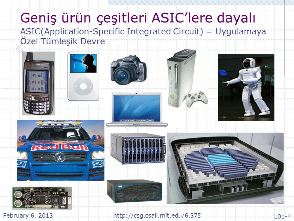 Geniş ürün çeşitleri ASIC'lere dayalı ASIC(Application-Specific Integrated Circuit) = Uygulamaya Özel Tümleşik Devre February 6, 2013http://csg.csail.mit.edu/6.375 L01-4