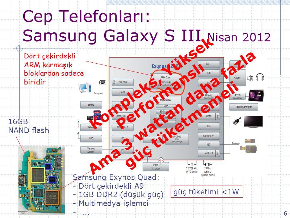 Cep Telefonları: Samsung Galaxy S III Nisan 2012 Samsung Exynos Quad: - Dört çekirdekli A9 - 1GB DDR2 (düşük güç) - Multimedya işlemci -...