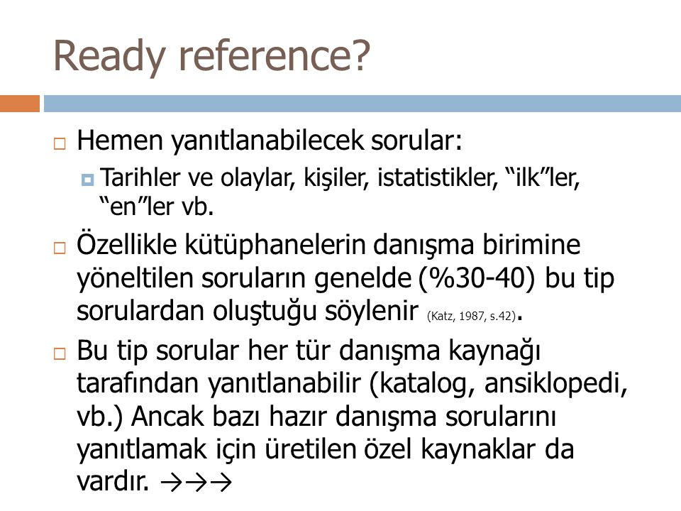 Ready reference.