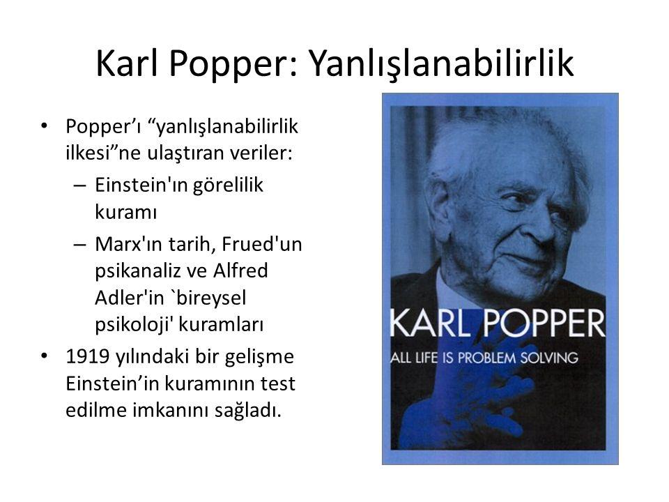 Karl Popper: Yanlışlanabilirlik Popper'ı yanlışlanabilirlik ilkesi ne ulaştıran veriler: – Einstein ın görelilik kuramı – Marx ın tarih, Frued un psikanaliz ve Alfred Adler in `bireysel psikoloji kuramları 1919 yılındaki bir gelişme Einstein'in kuramının test edilme imkanını sağladı.