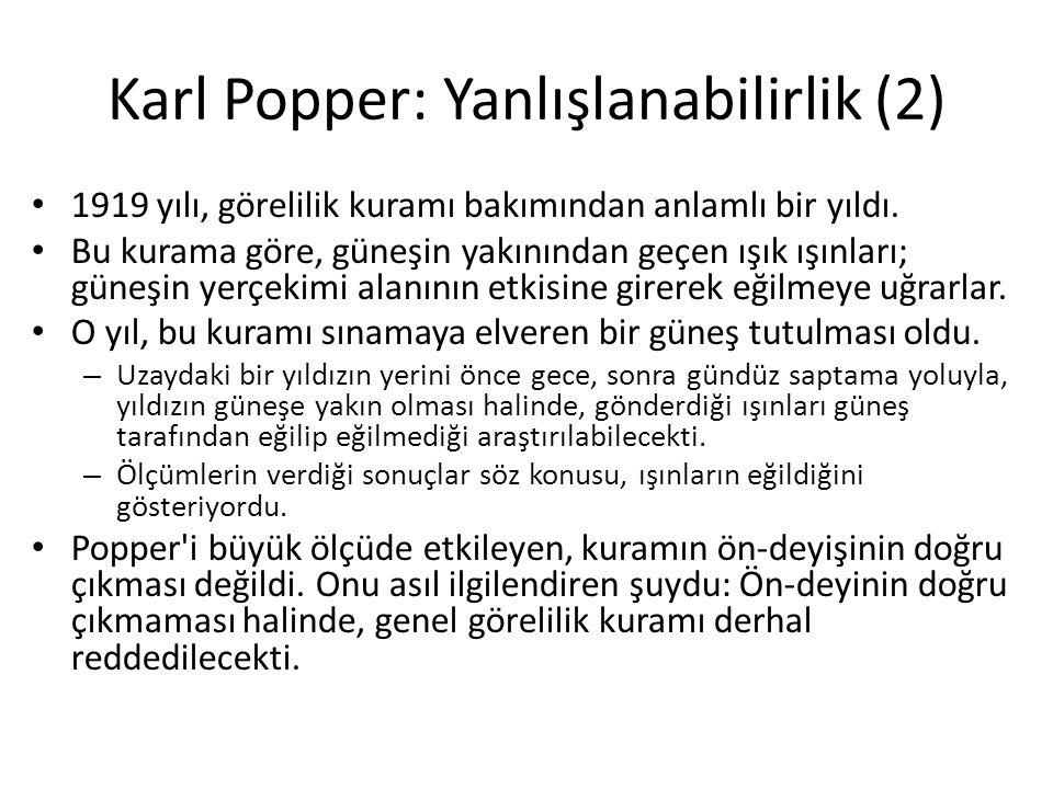 Karl Popper: Yanlışlanabilirlik (2) 1919 yılı, görelilik kuramı bakımından anlamlı bir yıldı.