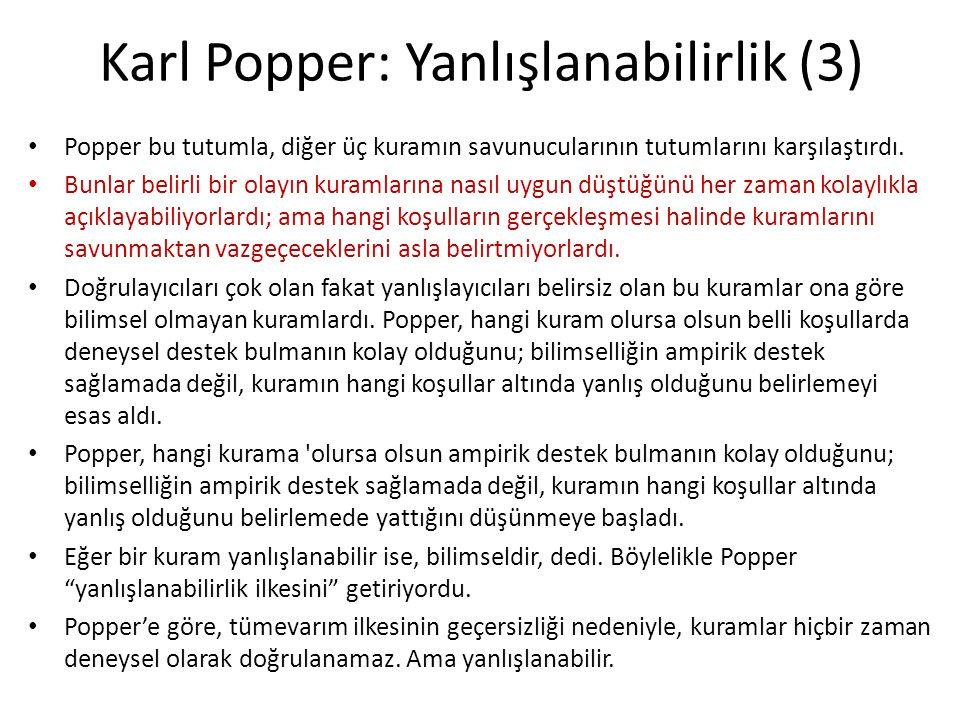 Karl Popper: Yanlışlanabilirlik (3) Popper bu tutumla, diğer üç kuramın savunucularının tutumlarını karşılaştırdı.