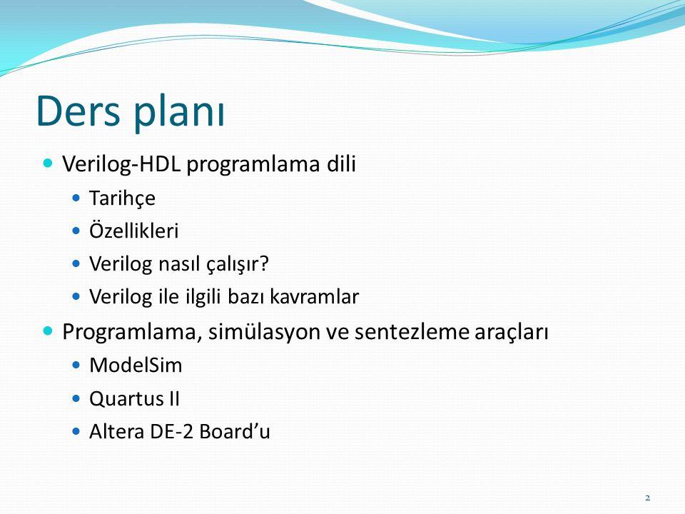 Ders planı Verilog-HDL programlama dili Tarihçe Özellikleri Verilog nasıl çalışır.