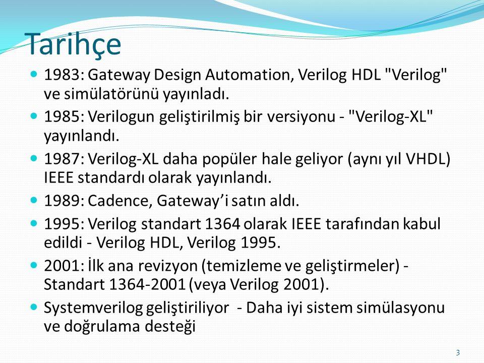 Donanım Tanımlama Dilleri (Hardware Description Languages(HDL)) Özellikleri Örnek HDL'ler: ABEL, VERILOG, VHDL Avantajları: Belgeleme Esneklik (kolay tasarım veya mod değişiklikleri yapmak için) Taşınabilirlik (HDL standart ise) Modelleme, simülasyon (test benches) ve sentezleme için, tek dil.