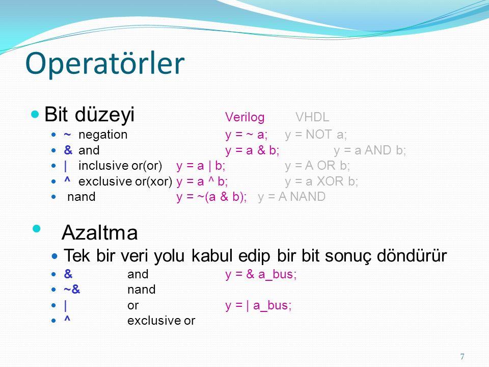 Operatörler (devamı) İlişkisel (doğru için 1 döndürür, yanlış için 0) < küçüktür, <= > büyüktür, >= Eşitlik == mantıksal eşitlik != mantıksal eşitsizlik Mantıksal Karşılaştırma Operatörleri .