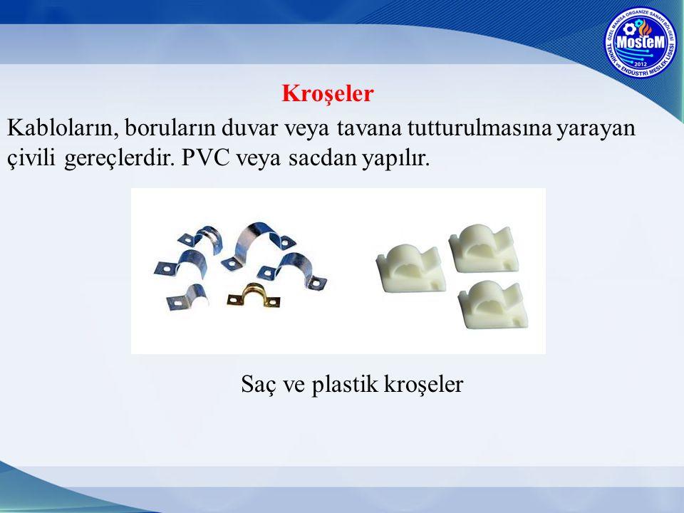 Kroşeler Kabloların, boruların duvar veya tavana tutturulmasına yarayan çivili gereçlerdir. PVC veya sacdan yapılır. Saç ve plastik kroşeler