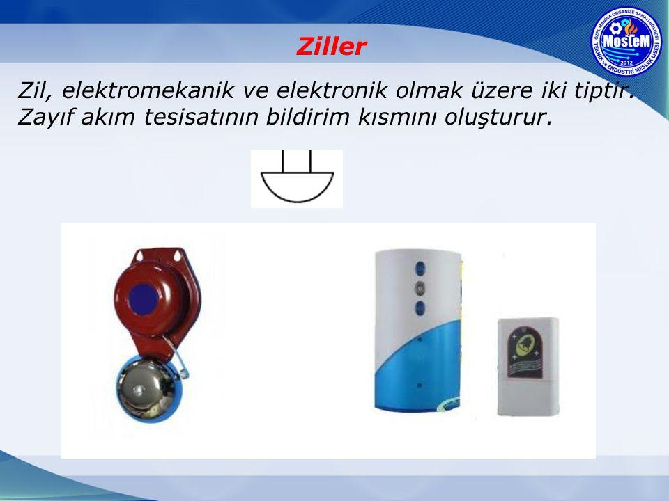 Ziller Zil, elektromekanik ve elektronik olmak üzere iki tiptir. Zayıf akım tesisatının bildirim kısmını oluşturur.