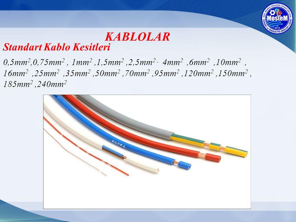 KABLOLAR Standart Kablo Kesitleri 0,5mm 2,0,75mm 2, 1mm 2,1,5mm 2,2,5mm 2, 4mm 2,6mm 2,10mm 2, 16mm 2,25mm 2,35mm 2,50mm 2,70mm 2,95mm 2,120mm 2,150mm