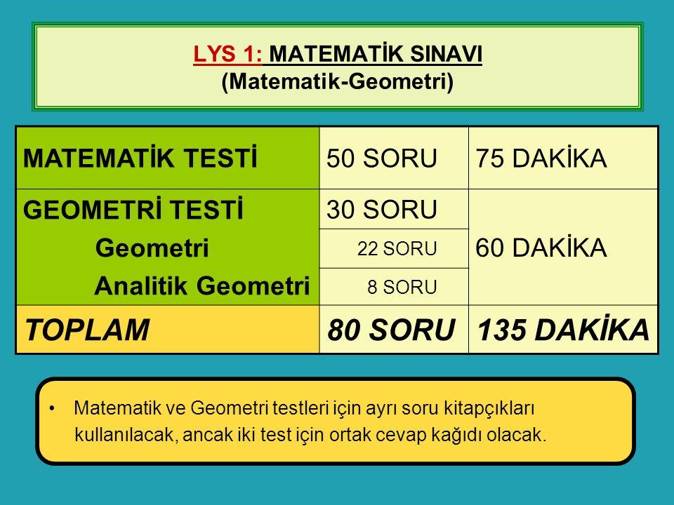 LYS 1: MATEMATİK SINAVI (Matematik-Geometri) MATEMATİK TESTİ50 SORU75 DAKİKA GEOMETRİ TESTİ Geometri Analitik Geometri 30 SORU 60 DAKİKA 22 SORU 8 SOR