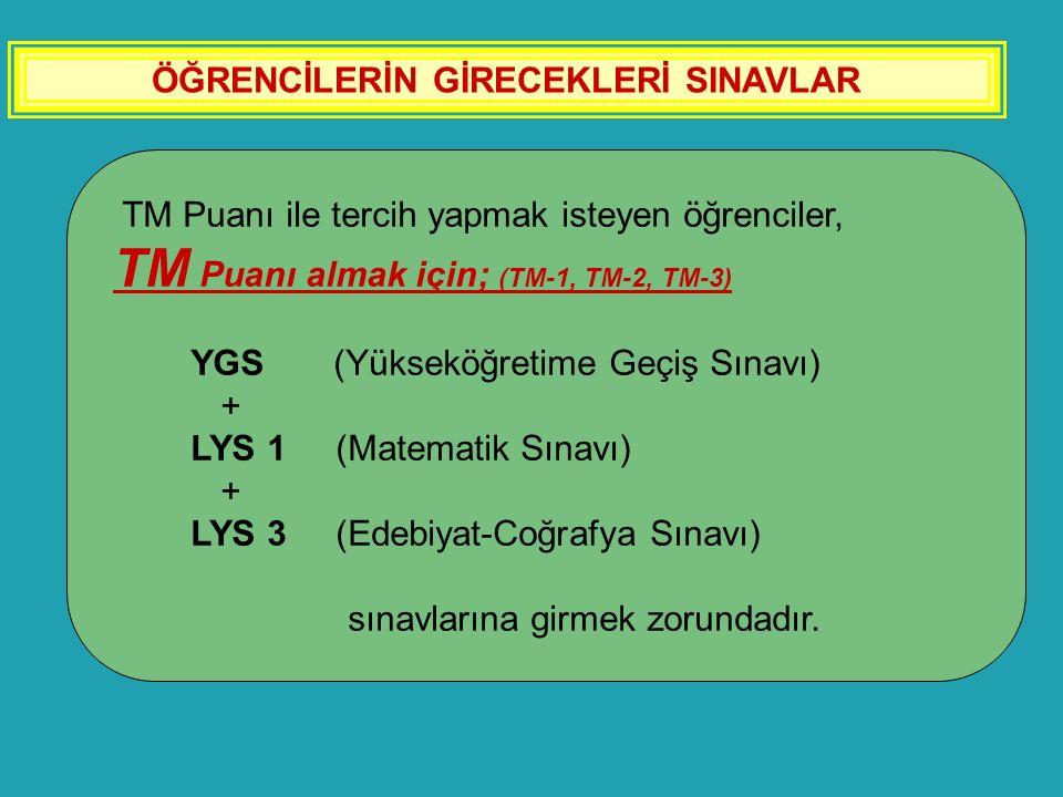 ÖĞRENCİLERİN GİRECEKLERİ SINAVLAR TM Puanı ile tercih yapmak isteyen öğrenciler, TM Puanı almak için; (TM-1, TM-2, TM-3) YGS (Yükseköğretime Geçiş Sın