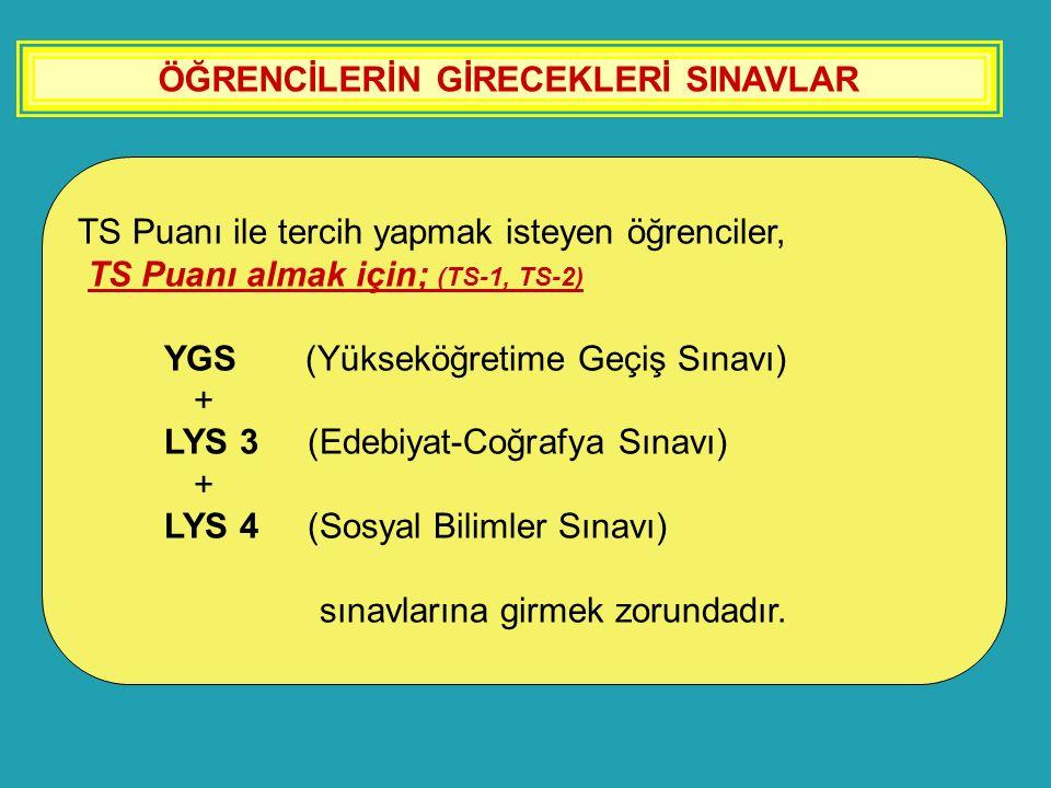 ÖĞRENCİLERİN GİRECEKLERİ SINAVLAR TS Puanı ile tercih yapmak isteyen öğrenciler, TS Puanı almak için; (TS-1, TS-2) YGS (Yükseköğretime Geçiş Sınavı) +
