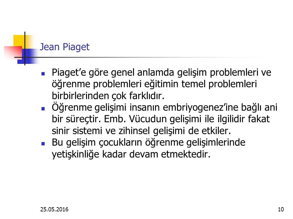 25.05.201610 Jean Piaget Piaget'e göre genel anlamda gelişim problemleri ve öğrenme problemleri eğitimin temel problemleri birbirlerinden çok farklıdır.