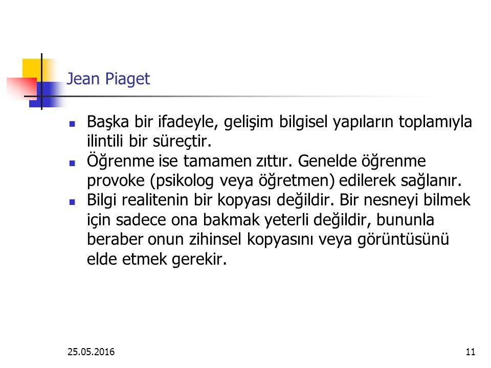 25.05.201611 Jean Piaget Başka bir ifadeyle, gelişim bilgisel yapıların toplamıyla ilintili bir süreçtir.