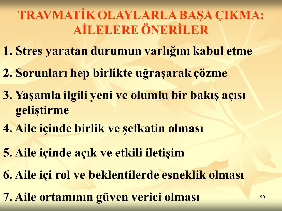 50 TRAVMATİK OLAYLARLA BAŞA ÇIKMA: AİLELERE ÖNERİLER 1.