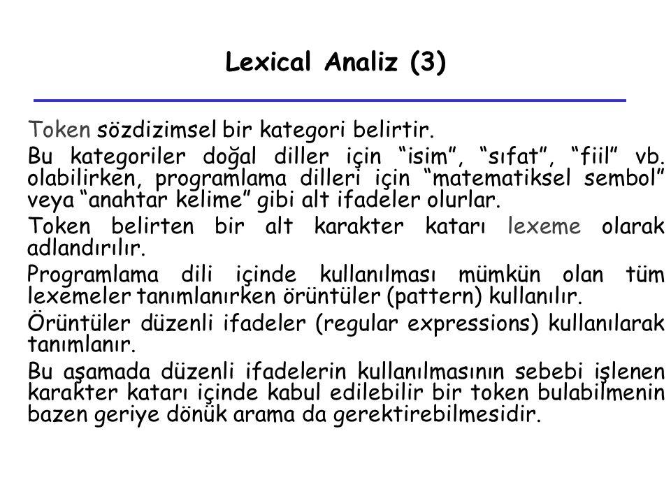 """Lexical Analiz (3) Token sözdizimsel bir kategori belirtir. Bu kategoriler doğal diller için """"isim"""", """"sıfat"""", """"fiil"""" vb. olabilirken, programlama dill"""