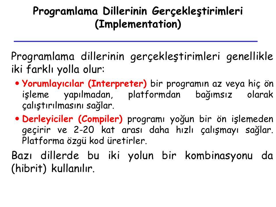 Programlama Dillerinin Gerçekleştirimleri (Implementation) Programlama dillerinin gerçekleştirimleri genellikle iki farklı yolla olur: Yorumlayıcılar