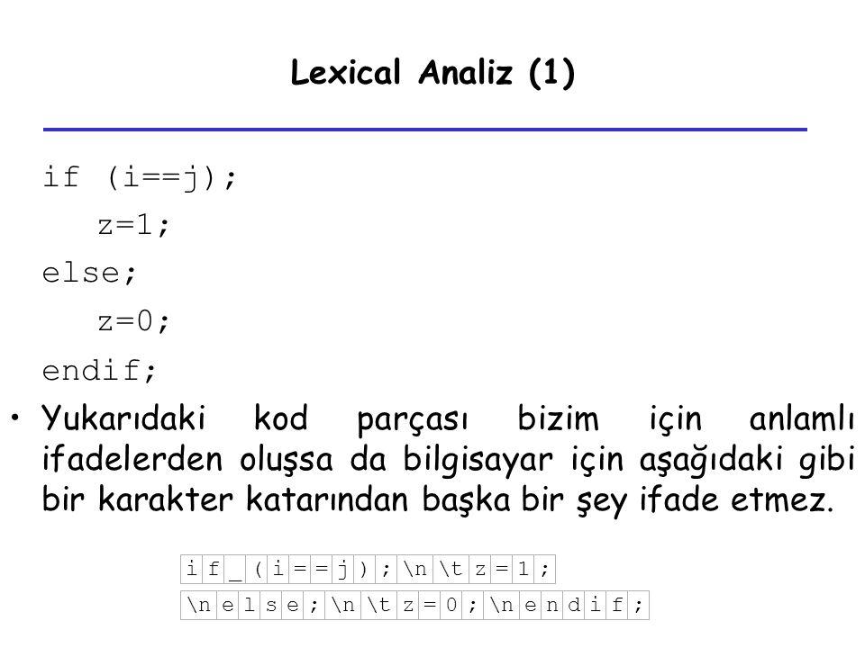 Lexical Analiz (1) if (i==j); z=1; else; z=0; endif; Yukarıdaki kod parçası bizim için anlamlı ifadelerden oluşsa da bilgisayar için aşağıdaki gibi bi