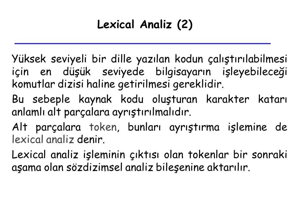 Lexical Analiz (2) Yüksek seviyeli bir dille yazılan kodun çalıştırılabilmesi için en düşük seviyede bilgisayarın işleyebileceği komutlar dizisi halin
