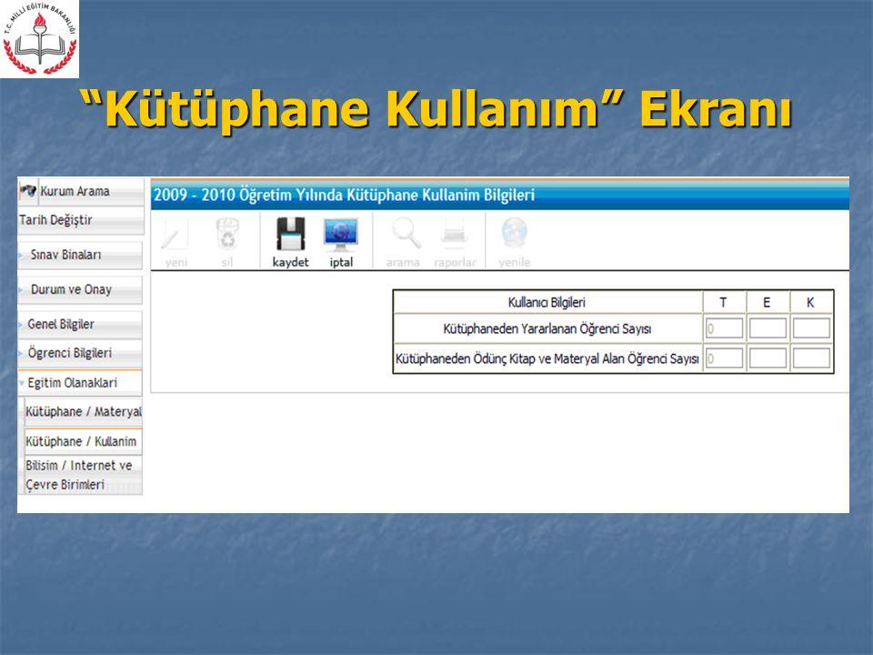 Kütüphane Kullanım Ekranı
