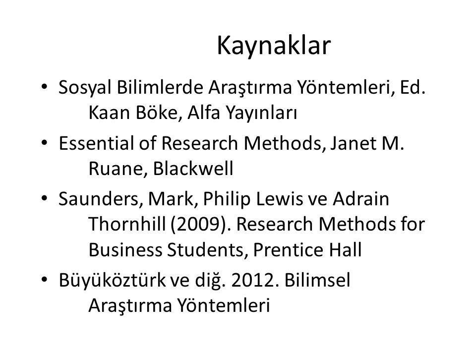 Kaynaklar Sosyal Bilimlerde Araştırma Yöntemleri, Ed. Kaan Böke, Alfa Yayınları Essential of Research Methods, Janet M. Ruane, Blackwell Saunders, Mar