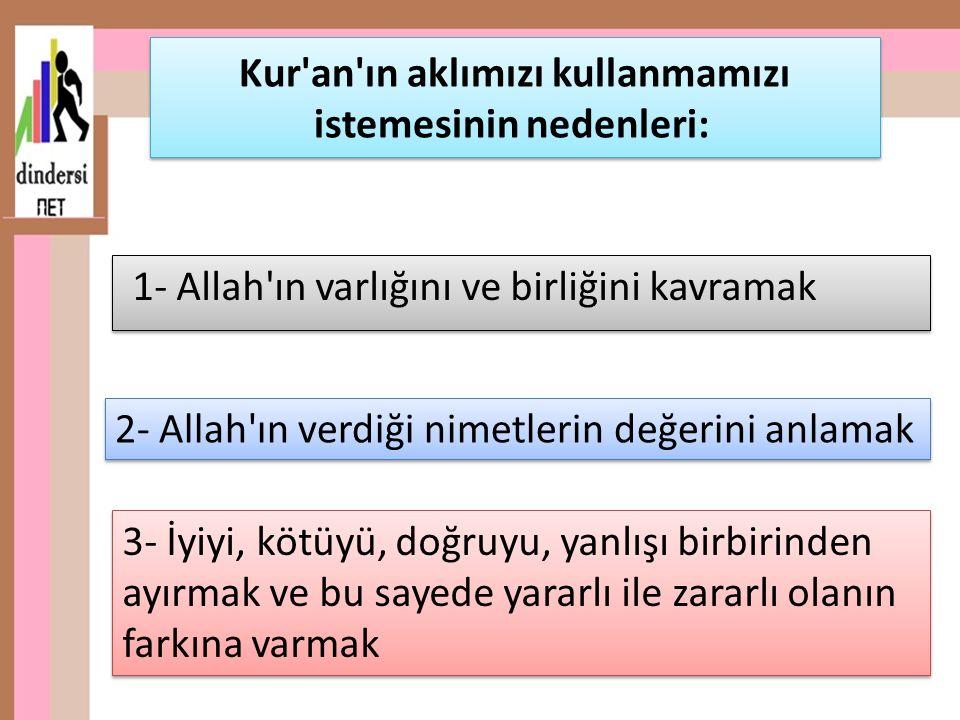 1- Allah ın varlığını ve birliğini kavramak Kur an ın aklımızı kullanmamızı istemesinin nedenleri: 3- İyiyi, kötüyü, doğruyu, yanlışı birbirinden ayırmak ve bu sayede yararlı ile zararlı olanın farkına varmak 2- Allah ın verdiği nimetlerin değerini anlamak