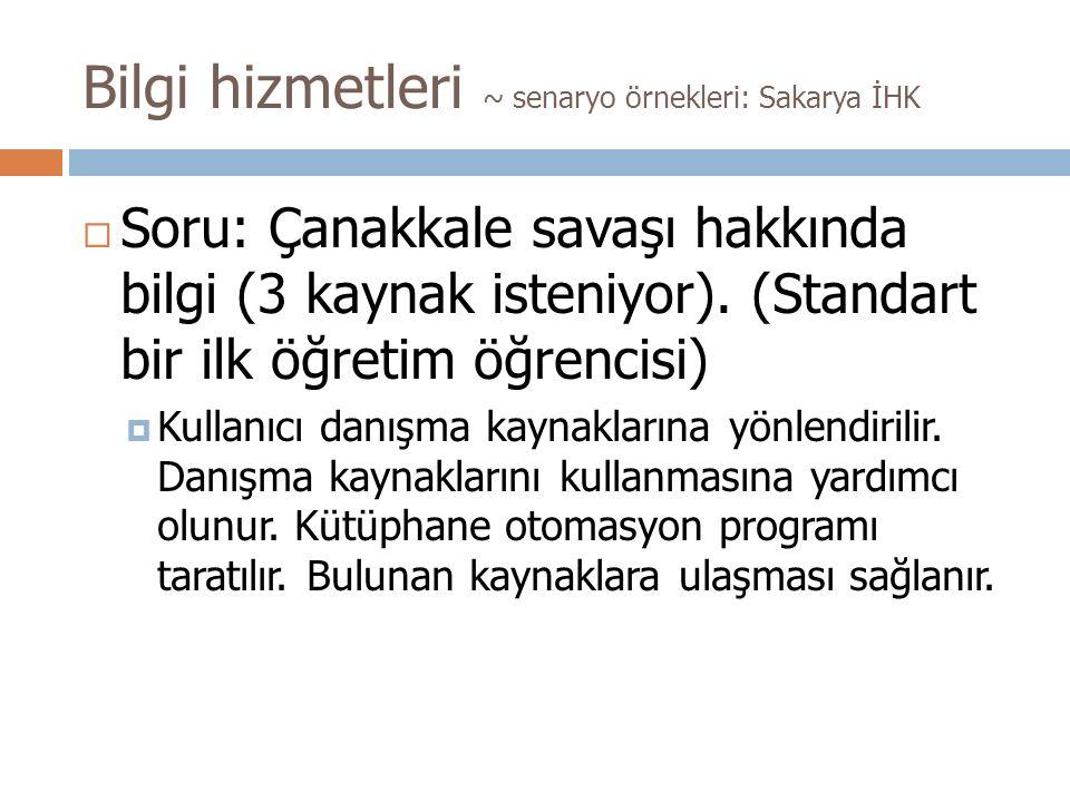 Bilgi hizmetleri ~ senaryo örnekleri: Sakarya İHK  Soru: Çanakkale savaşı hakkında bilgi (3 kaynak isteniyor).
