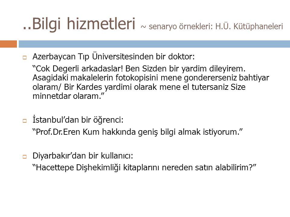 ..Bilgi hizmetleri ~ senaryo örnekleri: H.Ü.