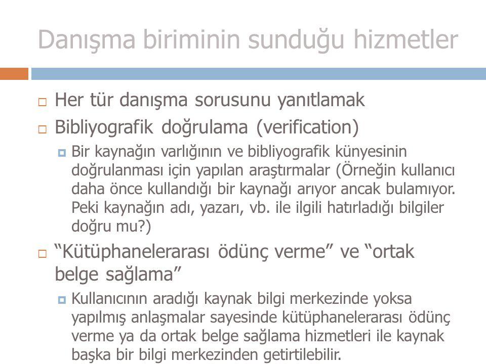 Bilgi hizmetleri ~ senaryo örnekleri: H.Ü.