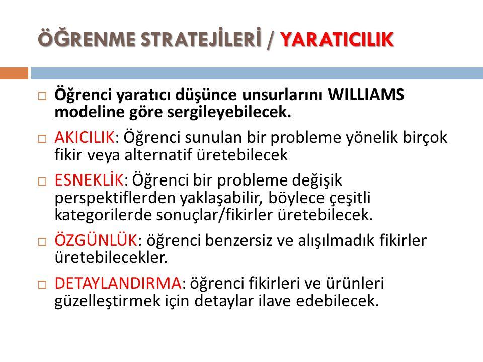 Ö Ğ RENME STRATEJ İ LER İ / YARATICILIK  Öğrenci yaratıcı düşünce unsurlarını WILLIAMS modeline göre sergileyebilecek.