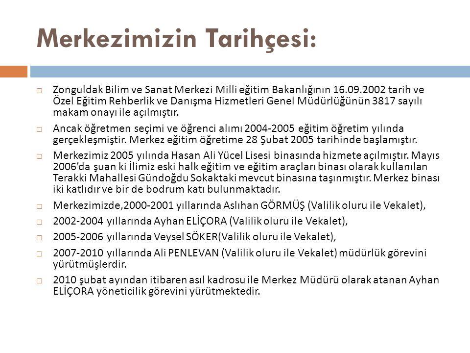 Merkezimizin Tarihçesi:  Zonguldak Bilim ve Sanat Merkezi Milli eğitim Bakanlığının 16.09.2002 tarih ve Özel Eğitim Rehberlik ve Danışma Hizmetleri Genel Müdürlüğünün 3817 sayılı makam onayı ile açılmıştır.