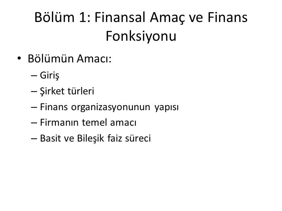 Bölüm 1: Finansal Amaç ve Finans Fonksiyonu Bölümün Amacı: – Giriş – Şirket türleri – Finans organizasyonunun yapısı – Firmanın temel amacı – Basit ve