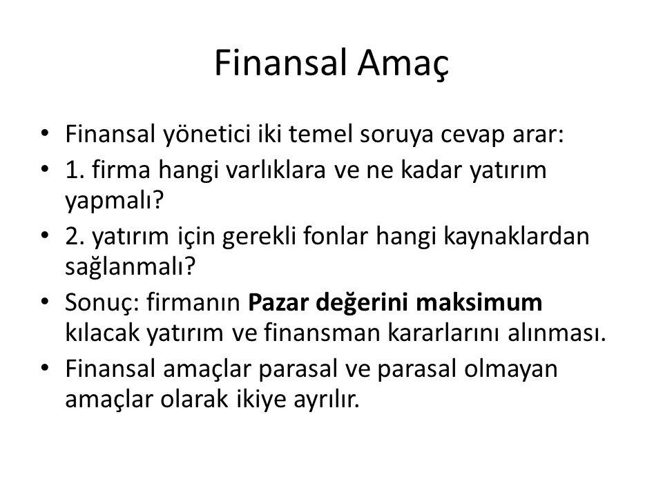Finansal Amaç Finansal yönetici iki temel soruya cevap arar: 1. firma hangi varlıklara ve ne kadar yatırım yapmalı? 2. yatırım için gerekli fonlar han