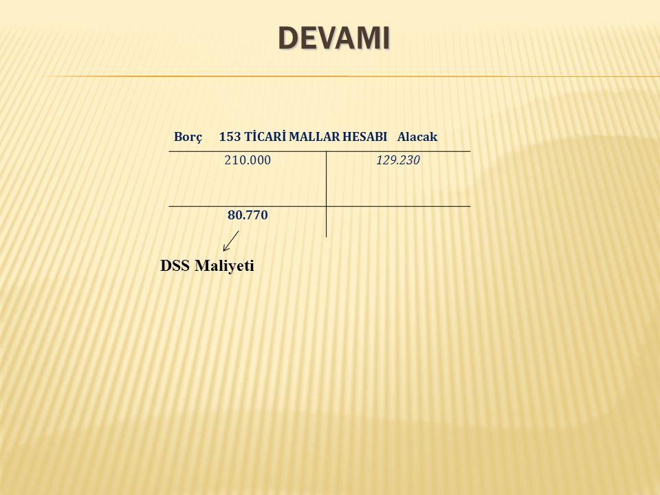 DEVAMI Borç 153 TİCARİ MALLAR HESABI Alacak 210.000129.230 80.770 DSS Maliyeti