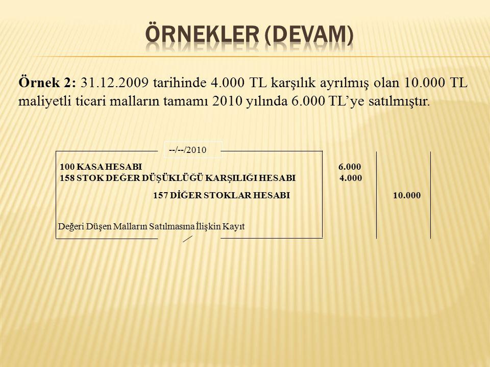 Örnek 2: 31.12.2009 tarihinde 4.000 TL karşılık ayrılmış olan 10.000 TL maliyetli ticari malların tamamı 2010 yılında 6.000 TL'ye satılmıştır.