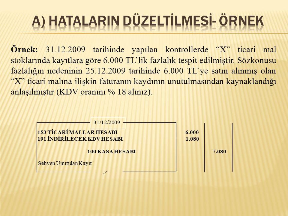 Örnek 3: 31.12.2009 tarihinde 4.000 TL karşılık ayrılmış olan 10.000 TL maliyetli ticari malların tamamı 2010 yılında 5.000 TL'ye satılmıştır.