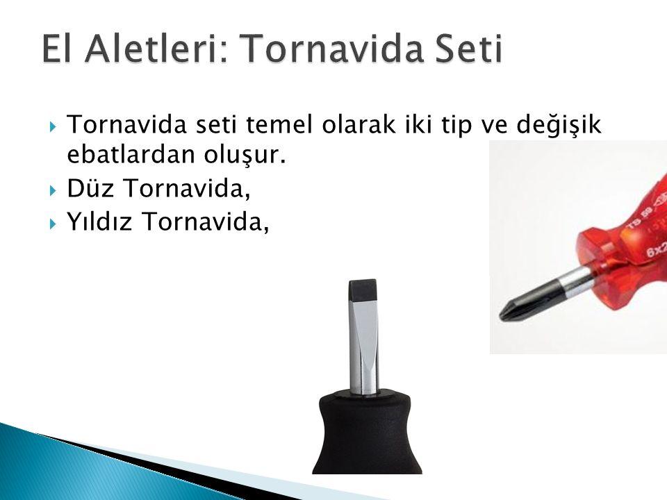  Tornavida seti temel olarak iki tip ve değişik ebatlardan oluşur.