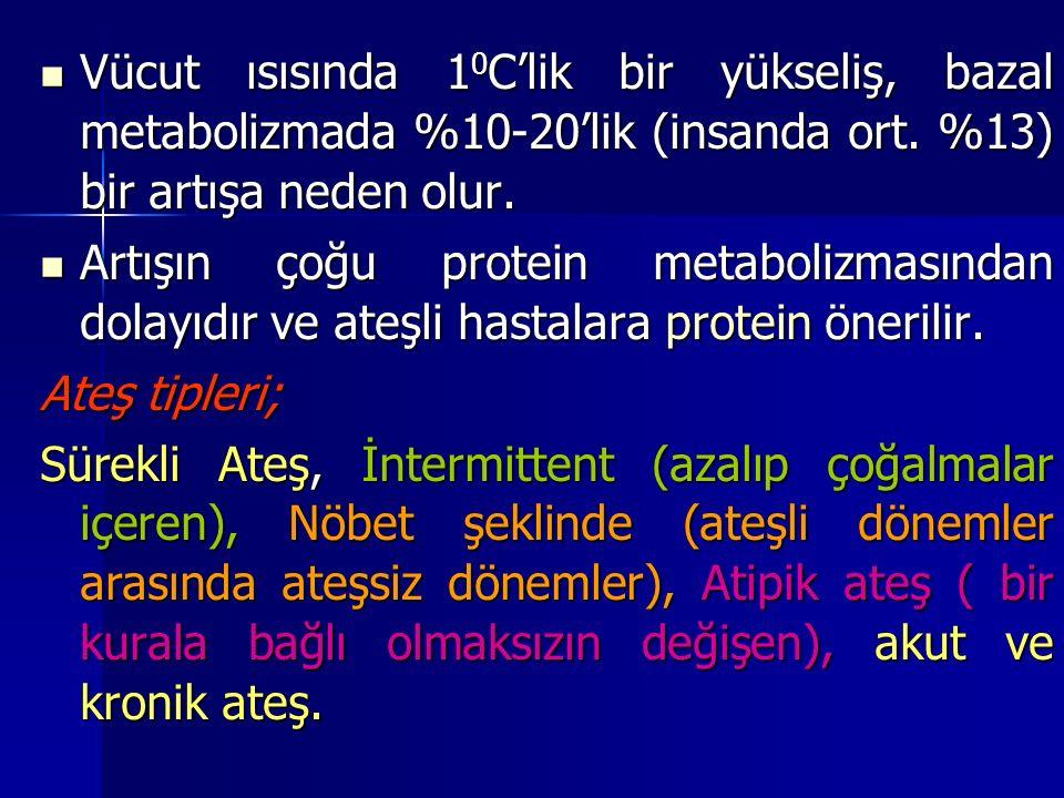 Vücut ısısında 1 0 C'lik bir yükseliş, bazal metabolizmada %10-20'lik (insanda ort.