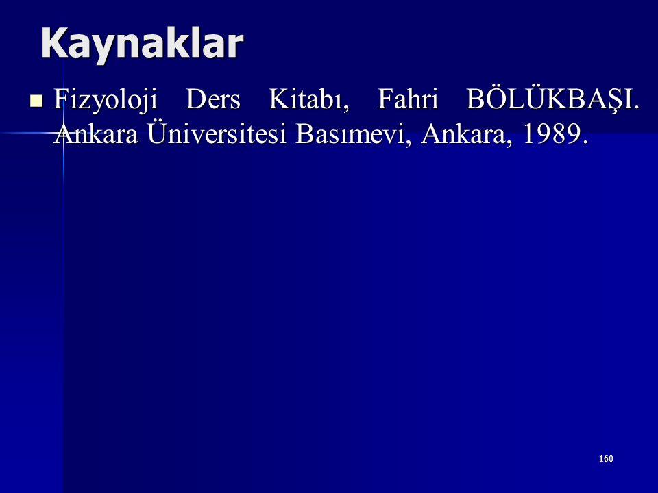 Kaynaklar Fizyoloji Ders Kitabı, Fahri BÖLÜKBAŞI.Ankara Üniversitesi Basımevi, Ankara, 1989.