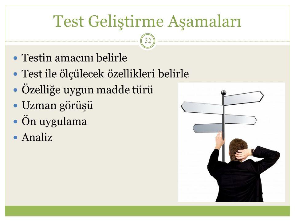 Test Geliştirme Aşamaları Testin amacını belirle Test ile ölçülecek özellikleri belirle Özelliğe uygun madde türü Uzman görüşü Ön uygulama Analiz 32