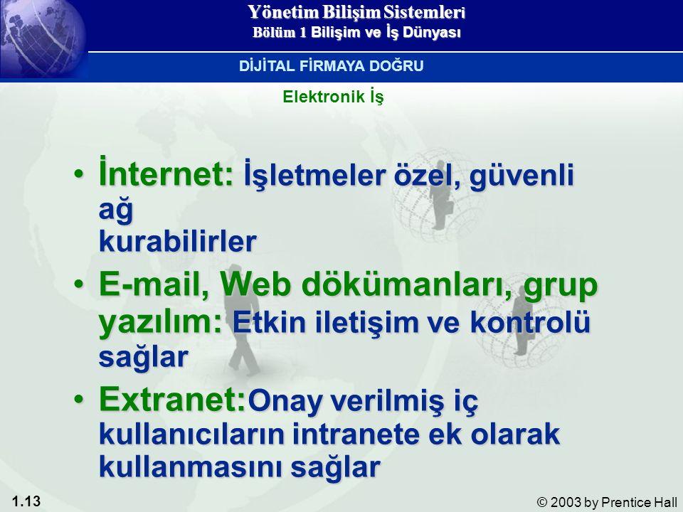 1.13 © 2003 by Prentice Hall İnternet: İşletmeler özel, güvenli ağ kurabilirlerİnternet: İşletmeler özel, güvenli ağ kurabilirler E-mail, Web dökümanları, grup yazılım: Etkin iletişim ve kontrolü sağlarE-mail, Web dökümanları, grup yazılım: Etkin iletişim ve kontrolü sağlar Extranet: Onay verilmiş iç kullanıcıların intranete ek olarak kullanmasını sağlarExtranet: Onay verilmiş iç kullanıcıların intranete ek olarak kullanmasını sağlar Elektronik İş DİJİTAL FİRMAYA DOĞRU Yönetim Bilişim Sistemler i Bölüm 1 Bilişim ve İş Dünyası