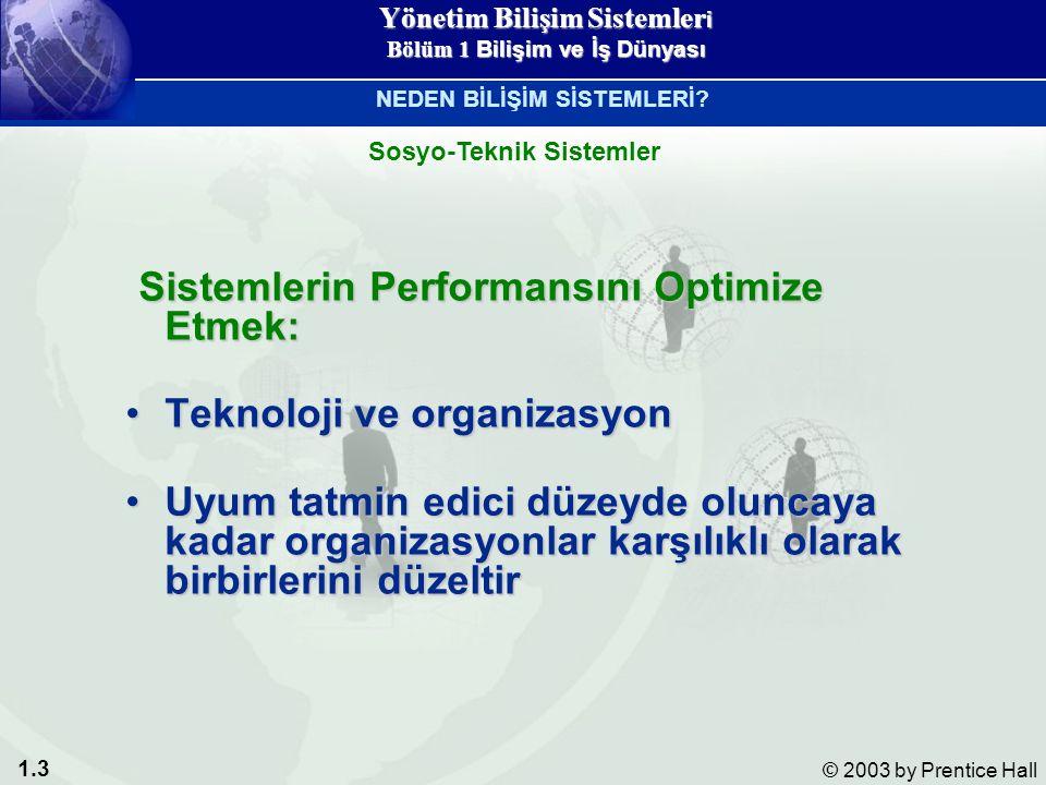 1.3 © 2003 by Prentice Hall Sistemlerin Performansını Optimize Etmek: Sistemlerin Performansını Optimize Etmek: Teknoloji ve organizasyonTeknoloji ve organizasyon Uyum tatmin edici düzeyde oluncaya kadar organizasyonlar karşılıklı olarak birbirlerini düzeltirUyum tatmin edici düzeyde oluncaya kadar organizasyonlar karşılıklı olarak birbirlerini düzeltir Sosyo-Teknik Sistemler NEDEN BİLİŞİM SİSTEMLERİ.